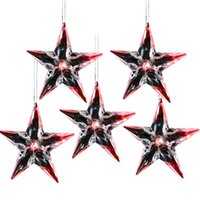 Wholesale Hanging Star Lights Christmas - 5pcs 10CM LED Lighted Christmas Plastic Five-pointed Star Ornament Creative Hanging Sparkling Five-pointed Star Ornament