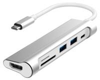 ordenadores portátiles hd china al por mayor-Tipo-C Hub 6-en-1 PD 4K HD SD / TF Lector de tarjetas USB 3.1 para MacBook Pro Air Laptop y Google Pixel 2 xl
