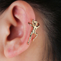 Wholesale china earrings for men resale online - 2pcs personality Exaggerated Rock Climbing Human Shape ear clip Vintage mix and match style Ear Cuff Earring for Women Men