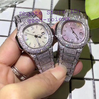 pulsera de perlas relojes mujeres al por mayor-Relojes de lujo para mujer Cuarzo suizo Ronda Cal.585 Eta Reloj para mujer Pave Bling Diamond Case Pulsera Mother Pearl Dial Relojes de 33 mm