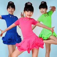 Wholesale Ballroom Dance Costumes For Kids - 2016 New 90-160cm Children Latin Dancewear Kids Standard Competition Ballroom Dress Stage Show Costumes For Sale