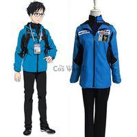 Wholesale ice man costume - YURI!!! on ICE Katsuki Yuri Coat Jacket Hoody Hoodie Pants Sportswear Jersey Uniform Outfit Anime Cosplay Costumes