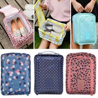 Wholesale folding clothes for travel - Travel Folding Storage Bags For Shoes Clothes Cosmetic Storage Package Waterproof Nylon Pouch Organizer Bag Zipper Pocket HH7-1258