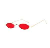 moldura oval pequena venda por atacado-Designer pequeno oval vermelho óculos de armação de metal mulheres homens elipse óculos de sol lentes cor do desenhador de moda marca claras para unisex femal