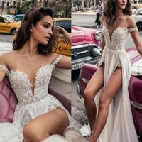 Wholesale Sexy Deep Slit Skirt - Julie Vino Wedding Dresses 2018 Off The Shoulder Vestidos De Novia Lace Sexy Deep V Neck High Slit Beach Bridal Dress