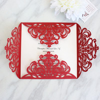 Wholesale china wedding invitation cards - Red wedding invitation card china laser cut floral invitation for weeding engagement baby shower celebration customized printing