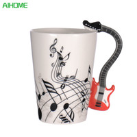 Wholesale Novelty Guitars - Creative Novelty Guitar Ceramic Personality Music Note Milk Juice Lemon Mug Coffee Tea Cup Home Office Drinkware Unique Gift