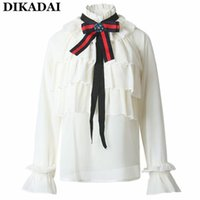 Wholesale Cute Summer Tops For Women - Summer chiffon Blouses Women Ruffles Trim Cute blouse shirts Vintage long sleeve lolita Neck Tie blouses casual office ladies tops for work