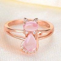 kupfer rosa rose großhandel-Rosen-Goldnatürlicher rosafarbener Kristallkatzen-Ring -30% weißes Kupfer überzogene Tropfen-Verschiffen-Rosen-Goldfarben-nette Katzen-Tierrosa-Opal-Ringe