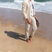 beyaz fildişi damat smokinleri toptan satış-Özel Beyaz, Fildişi Keten Yaz Plaj Düğün Erkekler için Takım Elbise Rahat Groomsmen Damat Smokin İyi Erkek Blazer Balo 2 Parça Kostüm Homme