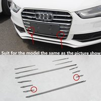 Wholesale Audi A4 Trim - 12pcs Stainless steel Car Front Grill Grille Decorative Cover Trim Strips For Audi A4 B8 2013-16 Car Styling decals