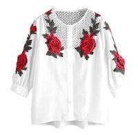 ingrosso ropa mujer blusas-Free camicette delle donne di struzzo camicia ricamata camicetta casual top plus size blusas mujer de moda ropa femininas camisetas c2635