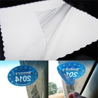 Wholesale clear windshield - 12pcs lot Car Clear Electrostatic Paste Film Non-Sticker Windshield Patch For Inspection License Pass Permit Tax Payment Proof S