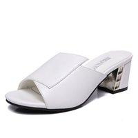 cinturones gruesos sandalias al por mayor-Sandalias de gladiador para mujer Zapatillas de cuero para mujer Punta estrecha Tacones altos Bombas Zapatos Verano Chunky Heel Con cinturón Sexy Sandalias femeninas 5 CM