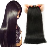 ofertas de paquetes de tejido virgen al por mayor-Cabello liso peruano sin procesar 8A 3 o 4 paquetes Ofertas Extensiones de cabello humano peruano Virgen Armadura brasileña del cabello humano natural
