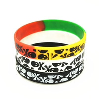 череп силиконовый браслет оптовых-1PC New Casual Skull Silicone Wristband 3 Colors Sports Rubber Bracelets&Bangles Hiphop Skeleton Charm Armbands Gifts SH272