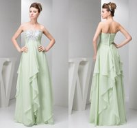 Wholesale strapless chiffon bridesmaid dress bead online - 2018 Mint Green Strapless Chiffon Bridesmaid Dresses Sequined Beading Crystals Wedding Party Wear Cheap Maid of Honor Gowns