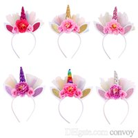 Wholesale baby cosplay for sale - New Baby Unicorn Horn Hair sticks Kids Girls Tulle Bunny headwear for Party Girls Cosplay Hair Accessories Flower Hair Clasp KFG34