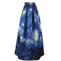 alta falda de soplo de cintura al por mayor-Mujeres Faldas Maxi Van Gogh Starry Sky Pintura al óleo 3D Impresión digital Falda de cintura alta Rockabilly Tutu Retro Puff Falda