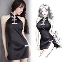 calças de cetim chinês venda por atacado-Lady girl Sexy Satin Lingerie Pijamas Nightdress Pincel Cheongsam Vestido Chinês Mulheres Pijamas (incluído calças T) 1 pçs / lote