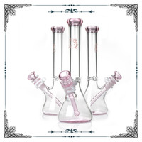 Wholesale pink smoking bong for sale - pink glass bong hello kitty Beaker bottom borosilicate water pipes waterpipe heady hookahs Straight Tube smoking