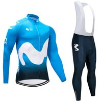 Wholesale Long Bicycle - 2018 Movistar long sleeve cycling jersey sets Spring AutumnTour de France Bisiklet wear bike maillot ropa ciclismo Bicycle MTB 9D pad