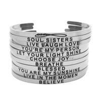 Wholesale inspirational gifts for women for sale - Silver Stackable L Stainless Steel Engraved Bracelet Positive Inspirational Open Stamped Cuff Bangle For Women Best Gifts