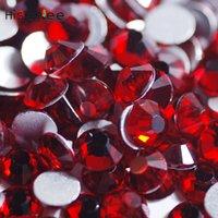 hotfix crystal red بالجملة-أحجار كريمة حمراء ساطعة عالية الجودة 144PCS-72PCS التألق والزجاج والكريستال 3D ظهر مسطح غير الإصلاح العاجل مسمار الديكور الديكور التبعي