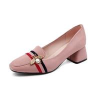 ingrosso scarpe britanniche per le donne-Scarpe da donna di grossa taglia 41-43 primavera 2018 nuovo stile con la scarpa singola British Wind in suede poco profonda 40 ruvida e 42