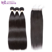 menschliches flechtenhaar mittel braun großhandel-Beaudiva Hair Extension 100% Echthaar Bundles Mit Verschluss Brasilianische Haarwebart Bundles Gerade 3 Bundles