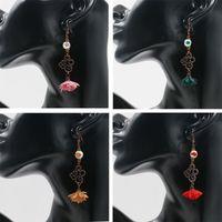 Wholesale pressing cloth - Vintage Style Pressed Lace Flower Long Hanging Earrings Cloth Flower Earrings Jewelry Earrings For Women Eardrop Accessories Free DHL G970R