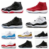 """Wholesale highest number - With Box + Number """"45"""" High Quality 11 Spaces Jams Basketball Shoes 11s Bred Concord Gamma Blue Men Women shoes 72-10 Gym Red Sneakers"""