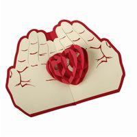 pop up carte coeur 3d achat en gros de-Saint-Valentin carte de Noël coeur rouge pop up carte 3D cartes de voeux fait à la main cadeau de noël A15