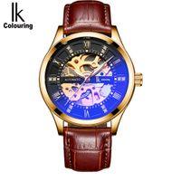 ik skelettuhr großhandel-IK Färbung Herren Mechanische Uhren Autmatic Selbst Wind Uhr Leder Skeleton Armbanduhren Montre Reloj Automatico De Hombre