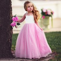Wholesale Chinese Style White Wedding Dresses - White Cotton Tops Pink Voile Patchwork Dress Summer Clothes Sleeveless Halter Mesh Wedding Party Princess Dress for 1-6Y Girls