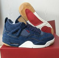 Wholesale Women Embroidered Jeans - Retro 4 Denim Men 4s Basketball Shoes Blue Jeans Sneakers Top Quality Shoes Ship With Box