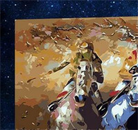 arte caballos pintura al óleo al por mayor-Animal Theme Eco Friendly Pinturas al óleo Impresión digital Diy Hecho a mano Paisaje Arte Carrera de caballos Pintura Living Room Decor 25ax jj