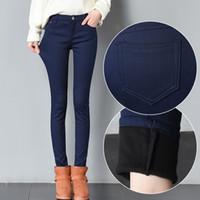Weweya 2017 Jeans de invierno para las mujeres cálido terciopelo grueso  flaco lápiz Jeans pantalones mujer cintura alta más cachemira multicolor  Jeans ... f7d1c488d4cf