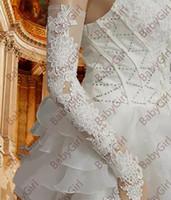 Wholesale long lace gloves - In Stock White and Black Bridal Gloves Fingerless Wholesale Hot Sale Elegant Long Paragraph Bridal Wedding Gloves