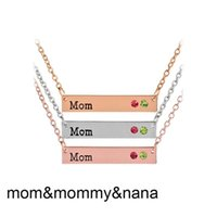 Wholesale Silver Family Necklace - Mommy Mom Nana Necklace Crystal Birthstone Horizontal Bar Necklaces silver rose gold Chain for Women Family Member Jewelry Drop Shipping
