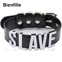 Wholesale Slave Girl - Fashion Gold Men Necklace Women Girl Silver Slave Name Word Customized Collar Buckle Necklace Black PU Leather Kawaii Jewelry