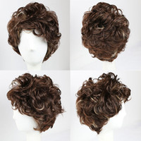 Wholesale Wig Black Cosplay Short - Short Brown Synthetic Hair Wigs for Black Women Men Daily Costume Cosplay Wigs with Bangs Wholesale African American Wigs with Cap
