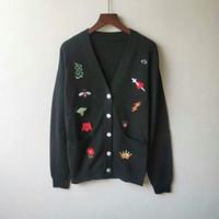ingrosso v maglia maglione maglia modello-2019 Early Autumn New Mens Designer Maglioni Moda ricamo all'uncinetto scollo a V modello Knit Cardigan Coat Casual Mens maglione taglia S-2XL