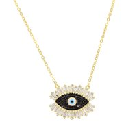 evil eye necklace black 2018 - Gold black stone 2018 Turkish evil eye necklace for women and ladies lucky fashion jewelry Gold color AAA cubic zirconia jewelry
