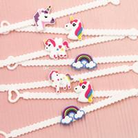 Wholesale Wristband Pvc - Baby Girl unicorn Bracelets PVC unicorn Wristband children Accessories Birthday Party Favors Supplies for Kids C3727