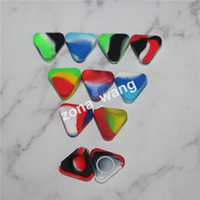 Wholesale Glass Food Covers - Small Triangle Silicone Wax Container Glass Oil Shatter 1.5ml Silicon Dab Jars Dry Herb Concentrate Butane Hash Oil Containers