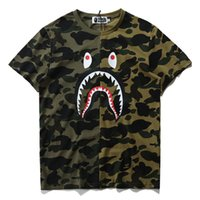 Wholesale unique mens shorts - Summer Casual Designer Luxury T Shirts for Men Tops Brand Shark Mouth Pattern Unique Clothing Short Sleeve Tshirt Mens Tops