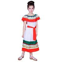 mexican long dresses UK - Children Girls Summer Long Dress Short Sleeve Skirt Mexican Maya Maxi Costume Kids Boat Neck Colorful Beach Dress