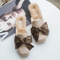 a45f1bda0b90 Riband bow-knot closed toe mules slippers women winter low heeled slides  celebrity leather furry slides girls shoes
