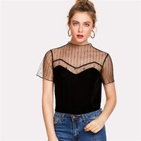 camiseta delantera corta al por mayor-Nueva moda Cut Out Plain Tee de las mujeres 2018 Caged Front Summer T-shirt de cuello redondo de manga corta de malla del panel de terciopelo camisa